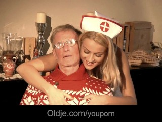 Two old farts double penetrates a sexy young nurse