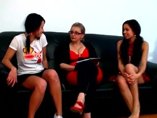 Two czech teens came to see their milf teacher to learn some lesbian tricks