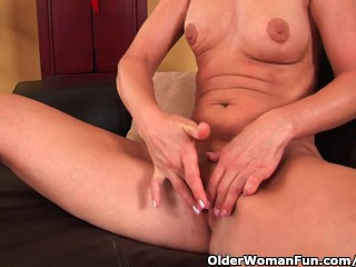 MILF with skinny breasts including boiling hot body