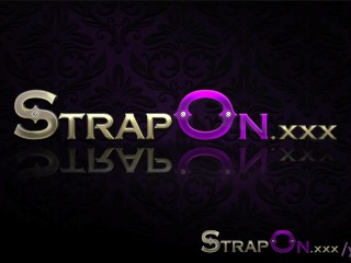 StrapOn Two sexy lesbians fucking each other with purple strapon