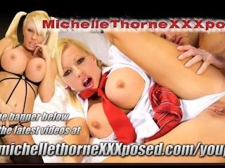 Office slut Michelle Thorne spit roasted threesome