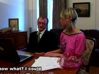 Russian schoolgirl with perky niples seduced by tricky old teacher in his appartment