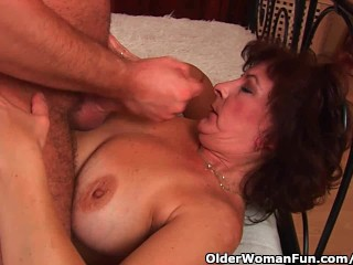 Grandma with giant boobs including hairy snatch gains facial