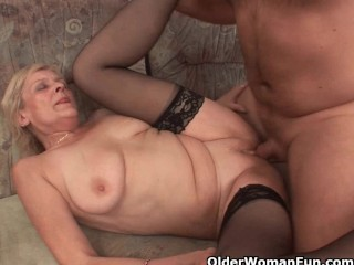Grandma in stockings finds a facial