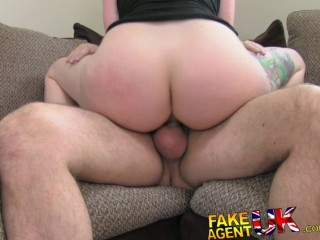 FakeAgentUK Brunette with unbelievable boobs fooled for 2nd casting couch bang
