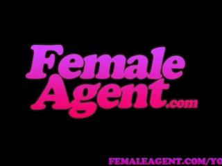 FemaleAgent Blonde body building beauty masturbates for sexy agent