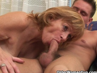 Granny obtains her hairy muff smashed hard