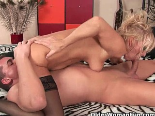 Sultry senior lady works his deep shaft