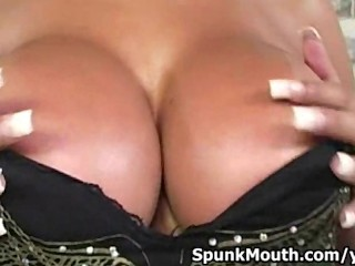 Hot porno superstar Bridgette B uses her Gigantic Titties and Big Mouth to pleasure big cock then gets Cum facial