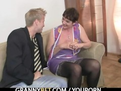 Picture Her hairy old pussy gets drilled by stiff di...