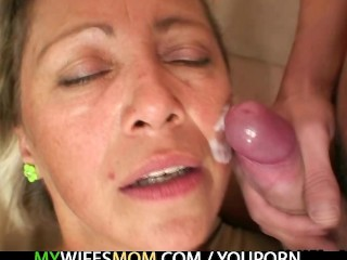 Roasting hot mom in law agrees to suck his sexual pecker