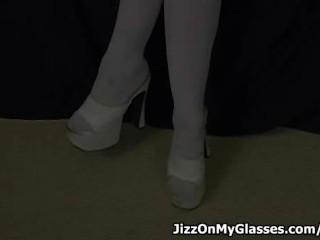 Busty geeky girl Melanie Malone sucks cock then gets  Jizz on her Glasses
