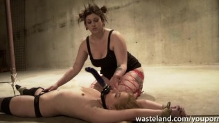 Female sex slave has her face sat on by her plump mistress