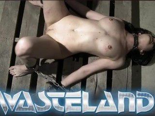 Pretty sex slave is hung from the ceiling and whipped and fucked
