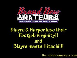 BrandNewAmateurs Mega-Hotty Blonde Blayre and Redhead Harper Lose Footjob Virginity And Blayre meets Hitachi Magic Wand and Orgasms Hard Several Times