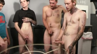 Twink cock sucking party - Factory Video