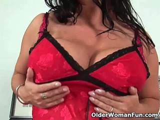 Big titted mature mom fucks herself with fingers and dildos
