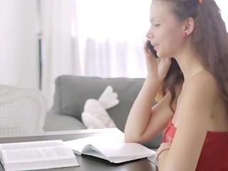 Doing homework Nastya couldn't resist her boyfriend seducing her and finally fucked him