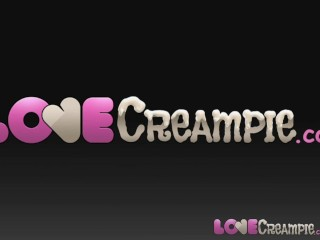 Love Creampie Two horny women take cum in their pussy for cash