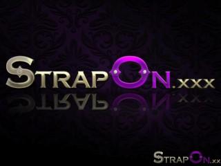StrapOn Quality lesbian strapon sex on the sofa