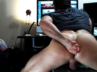 Straight Muscle finally gets ASSFUCKED! Muscle cumming while fucking his ass!