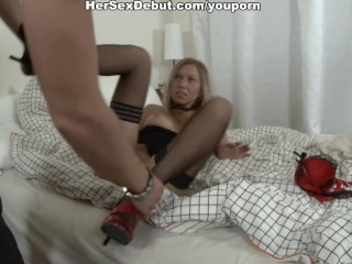 Sexy girl in fishnet stockings fucked hard with unusual sex toys