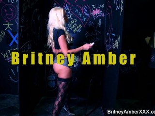 Hot blonde with big boobs Britney plays with herself