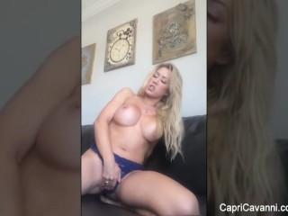 Capri Cavanni uses a hitachi to get herself off