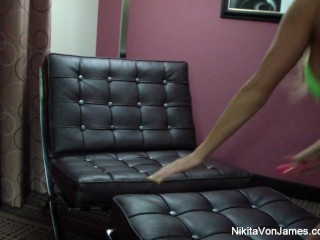 Nikita Von James plays with a toy in this sexy home movie