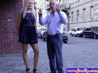 Classy blonde teen fingers her minge