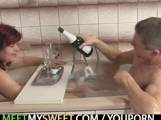 Old mom and bigcocked dad are pleased by son's GF