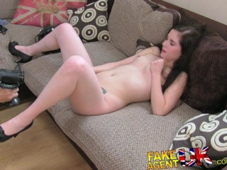 FakeAgentUK Casting couch sees Spanish babe hard throated plus creampied