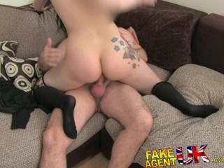 FakeAgentUK Boiling hot slim Brit babe fetish bound and pounded for agents pleasure