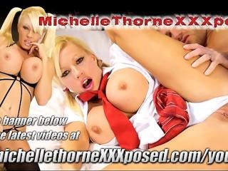 Blonde school teacher slut Michelle Thorne fucks wet pussy with big hard toy