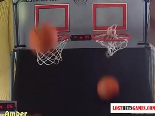 Two girls with great bodies play strip basketball shoot-off
