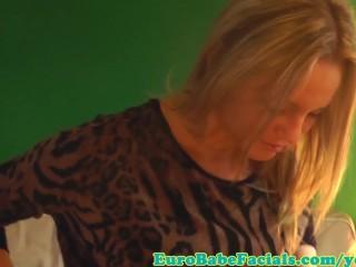 Blonde facial loving skank facialized