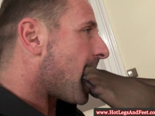 Sheila Grant wanks him with her feet