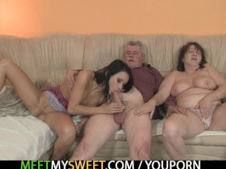 Innocent whore is seduced by a granny including smashed by a daddy