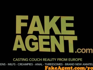 FakeAgent Sexy amateur bent ove desk and fucked then takes first-time Creampie