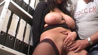 Hot secretary gets fisted fucked and jizzed in her face