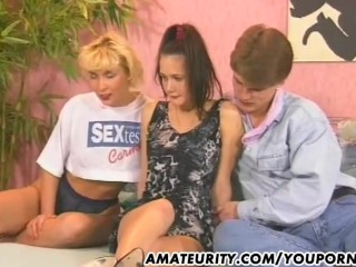 Cumshots/cum mouth with threesome in