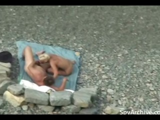 Blonde wife rides her hubby's dick on the beach
