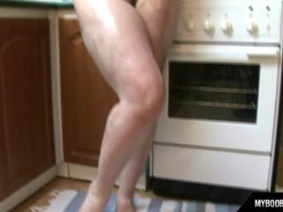 Huge natural tits Terry Nova masturbates with two dildos