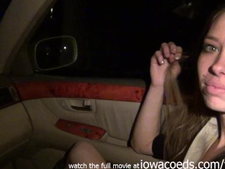 very cute and skinny iowa amateur masturbating while i drive her around