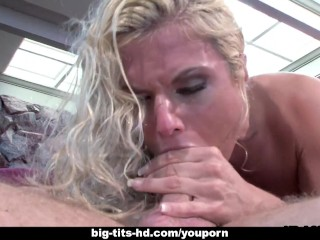 Blonde babe rides the dick with a vengeance