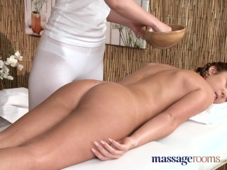 Massage Rooms Lesbians shaved holes are filled with horny little fingers
