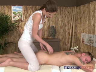 Massage Rooms Sexy girl with perfect bum gives best handjob in the world