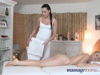 Massage Rooms Red head with heavy breasts gets lesbian touch she craves