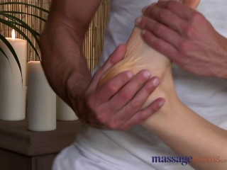 Massage Rooms Horny woman sucks and fucks her big cock stud masseur