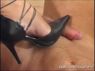 Sexy blonde makes her man worship her high heels
